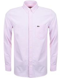 Lacoste L!ive   Long Sleeved Oxford Shirt Pink   Lyst