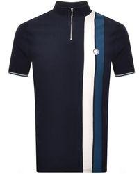 Pretty Green Zip Neck T Shirt Navy - Blue
