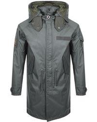 Pretty Green - Hooded Parka Jacket Khaki - Lyst