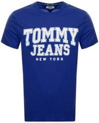457c3c39 Tommy Hilfiger - Essentials College T Shirt Blue - Lyst