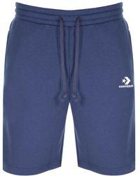 Converse - Star Chevron Logo Jersey Shorts Navy - Lyst