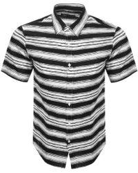 Michael Kors - Short Sleeved Striped Shirt Black - Lyst