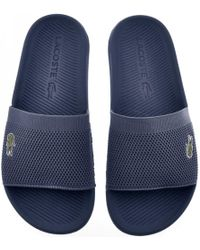 Lacoste - Croco Sliders Navy - Lyst