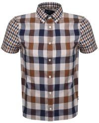 Aquascutum - Dart Mixed Club Check Shirt Brown - Lyst