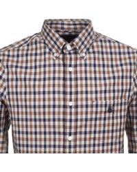 Aquascutum - York Club Check Shirt Brown - Lyst