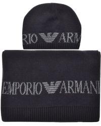 Armani - Emporio Logo Scarf And Beanie Gift Set Blue - Lyst