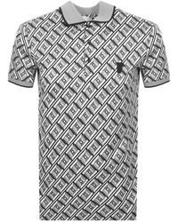 Versace - Patterned Polo T Shirt Grey - Lyst