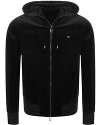 Armani - Emporio Full Zip Velour Hoodie Black - Lyst