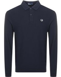 Fred Perry - Honeycomb Polo T Shirt Navy - Lyst