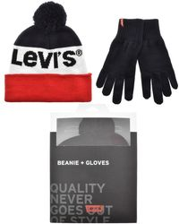 Levi's - Stripe Logo Beanie And Gloves Gift Set Navy - Lyst