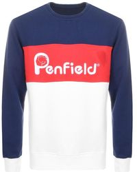 Penfield - Hudson Colourblock Logo Sweatshirt In Navy Multi - Lyst