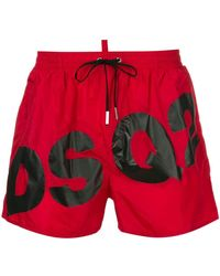 2b7f154479 DSquared² - Swim Shorts Dsq2 Logo In Red - Lyst