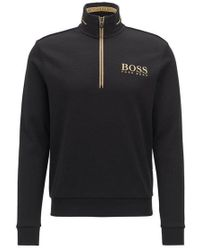 BOSS - Zip-neck Sweatshirt With Striped Artwork And Contrast Panels - Lyst