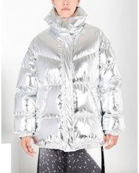 MM6 by Maison Martin Margiela - Silver Puffer Jacket - Lyst
