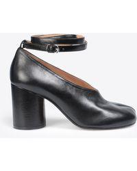 Maison Margiela - Black Leather Strapped Tabi Heels - Lyst
