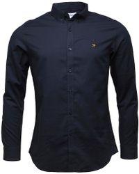 Farah - Leon Slim Fit Shirt True Navy - Lyst