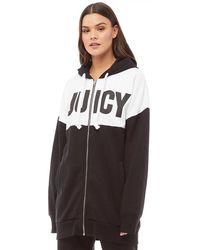Juicy Couture - Track Fleece Oversized Jacket Black/white - Lyst
