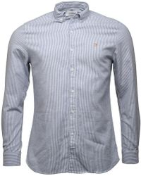 Farah - Hemsley Slim Fit Long Sleeve Shirt Royal - Lyst