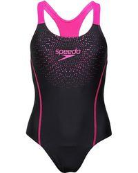 Speedo - Gala Logo Medalist One Piece Swimsuit Black/pink - Lyst
