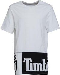 c27648d0fd Timberland - Large Logo Longline T-shirt White - Lyst