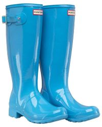 HUNTER - Original Tour Gloss Wellington Boots Forget Me Not - Lyst