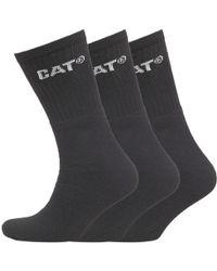 Caterpillar - Three Pack Crew Socks Black - Lyst