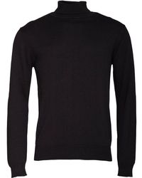 French Connection - Cotton Roll Neck Jumper Black - Lyst