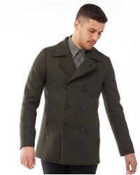 Ted Baker - Zachary Wool Pea Coat Dark Green - Lyst