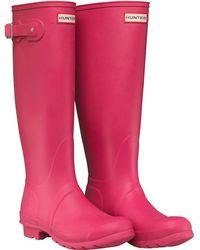 HUNTER - Original Tall Wellington Boots Bright Cerise - Lyst