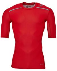 adidas - Techfit Climachill Compression Top Scarlet - Lyst bc8ea2536