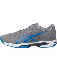 Asics - Gel Solution Speed 3 Tennis Shoes Aluminium/electric Blue/white - Lyst