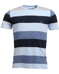 French Connection - Wide Four Stripe T-shirt Grey/sky/blue/navy - Lyst