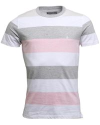 French Connection - Wide Four Stripe T-shirt Pink/white/grey - Lyst