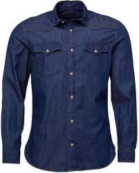 Produkt - Pktdek Next Western Long Sleeve Shirt Dark Grey Denim - Lyst