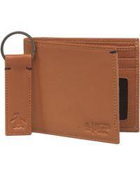 Original Penguin - Leather Wallet And Keyring Set Brown - Lyst