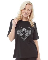 b48b06eb1e4a New Look Black Faux Feather And Sequin T-shirt in Black - Lyst