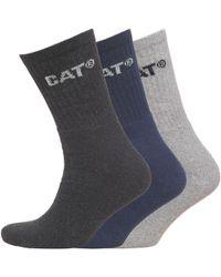 Caterpillar - Three Pack Crew Socks Navy/light Grey Marl/charcoal Marl - Lyst