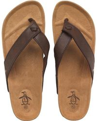 Original Penguin - Pine Thong Sandals Brown - Lyst