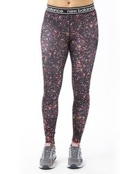 New Balance - Accelerate Printed Running Tight Leggings Black/multi - Lyst