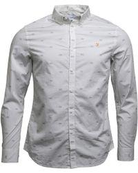 Farah - Stovin Slim Fit Shirt Ecru - Lyst