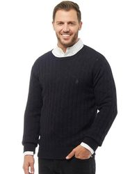 French Connection - Cable Knit Crew Neck Jumper Marine - Lyst