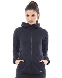 New Balance - Accelerate Tech Poly Fleece Full Zip Hoody Black - Lyst