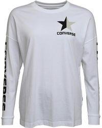 Converse - Split Star Wordmark Long Sleeve T-shirt Optical White - Lyst