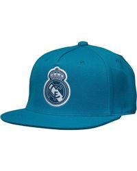 adidas - Rmcf Real Madrid Flat Brim Cap Vivid Teal white - Lyst 3a1b19f3871