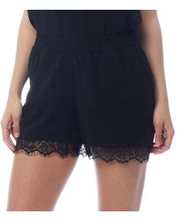 ONLY - Aida Lace Hem Shorts Black - Lyst