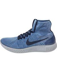Nike - Lunarepic Flyknit 1 Trainers Indigo/wolf Grey/obsidian - Lyst