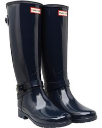 HUNTER - Refined Adjustable Ankle Strap Tall Gloss Wellington Boots Navy - Lyst