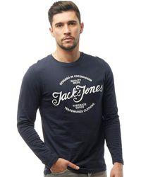 Jack & Jones - Liam Long Sleeve Top Total Eclipse - Lyst