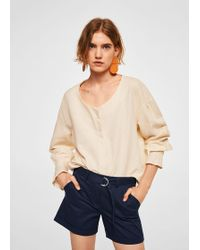 Mango - Belt Cotton-blend Short - Lyst