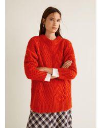 Mango - Knitted Braided Jumper - Lyst